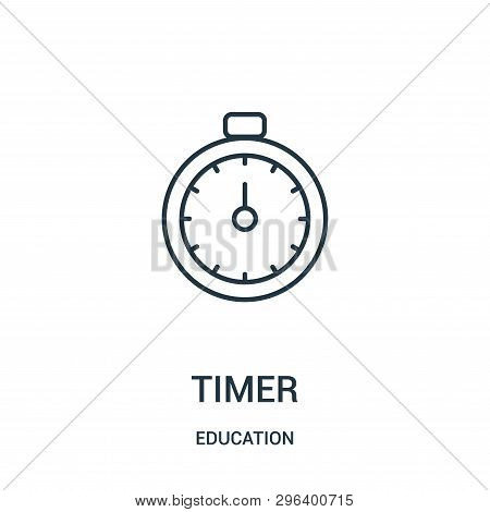 Timer Icon Isolated On White Background From Education Collection. Timer Icon Trendy And Modern Time