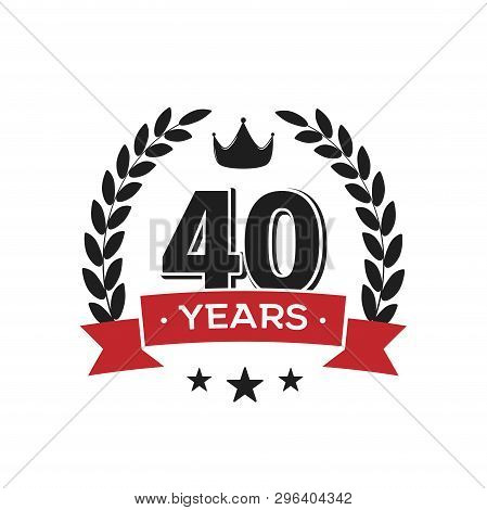40 Th Birthday Vintage Logo Template. Forty Years Anniversary Retro Isolated Vector Emblem With Red