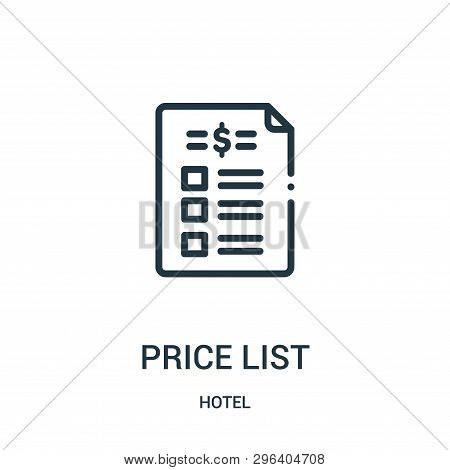 Price List Icon Isolated On White Background From Hotel Collection. Price List Icon Trendy And Moder