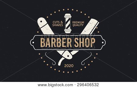 Vintage Barbershop Logo With Frame And Ornaments. Trendy Retro Design Logo Of Barber Shop With Grung