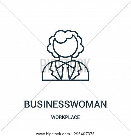 Businesswoman Icon Isolated On White Background From Workplace Collection. Businesswoman Icon Trendy