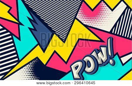 Comic. Pow! Pop Art Funny Comic Speech Word. Fashionable Poster And Banner. Social Media Blog Commun