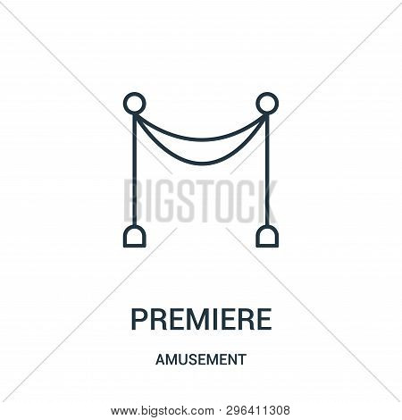 Premiere Icon Isolated On White Background From Amusement Collection. Premiere Icon Trendy And Moder