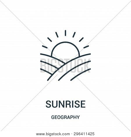 Sunrise Icon Isolated On White Background From Geography Collection. Sunrise Icon Trendy And Modern