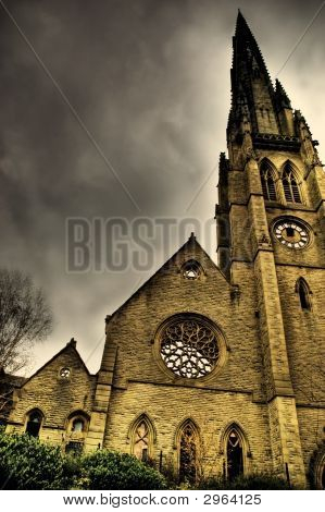 photo of an old gothic church called the square chapel which is in Halifax West yorkshire poster