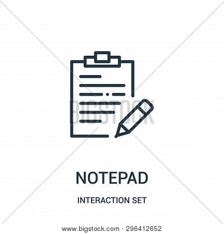 Notepad Icon Isolated On White Background From Interaction Set Collection. Notepad Icon Trendy And M