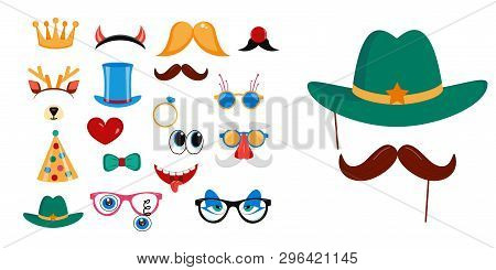 Photo Booth, Scrapbooking Props Icon Set Vector Illustration. Collection Of Design Elements Glasses,