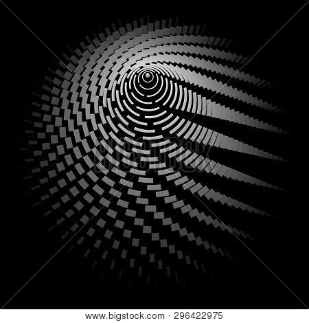 Round Wireframe A Grid Of Lines And Stripes On A Black Background Polygon Circle Pattern Design Elem