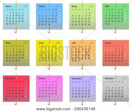 Calendar For 2019 In Spanish On Colorful Stickers Attached With Toothpicks. Vector Illustration
