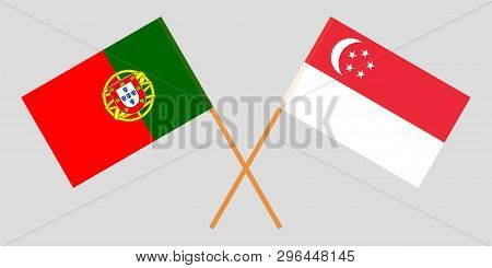 Portugal And Singapore. The Portuguese And Singaporean Flags. Official Colors. Correct Proportion. V