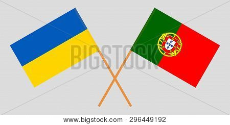 Portugal And Ukraine. The Portuguese And Ukrainian Flags. Official Colors. Correct Proportion. Vecto