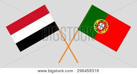 Portugal and Yemen. The Portuguese and Yemeni flags. Official colors. Correct proportion. Vector illustration poster
