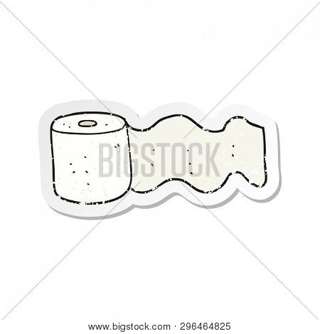 retro distressed sticker of a cartoon toilet paper