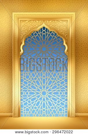 Ramadan Background With Golden Arch Or Window, With Golden Arabic Pattern, Background For Holy Month