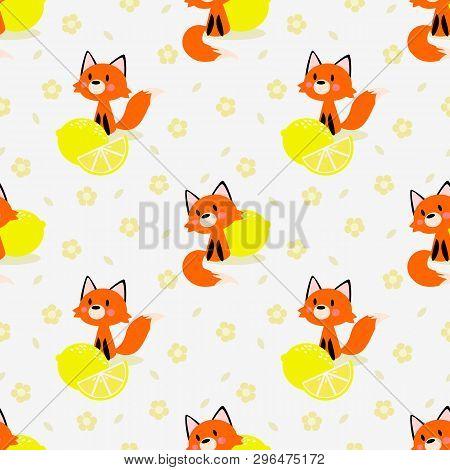 Cute Little Fox And Lemon Seamless Pattern. Lovely Animal Concept.