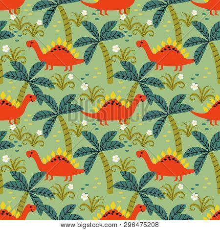 Cute Colorful Dinosaur Seamless Pattern. Material For Kids Fabric, Textile, Nursery Wallpaper. Lovel