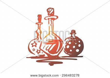 Poison, Halloween, Glass, Potion, Holiday Concept. Hand Drawn Glasses With Magic Potion Concept Sket