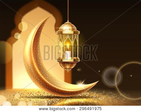 Ramadan Mubarak Or Kareem Background For Greeting Card. Eid Al-fitr Fasting Or Ramazan, Eid Al-adha