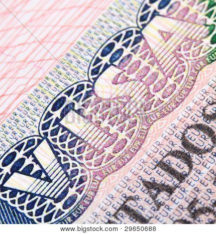 Macro shot of Schengen visa in passport