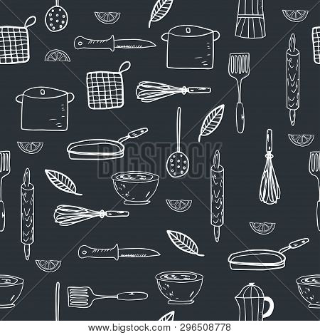 Hand Drawn Kitchenware Seamless Pattern On A Chalkboard Background. Sketch Style. Vector Illustratio