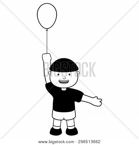 Happy Boy With A Balloon Icon. Vector Illustration Design