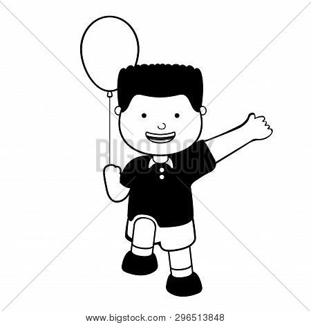 Happy Boy With A Balloon Icon. Vector Illustration Design
