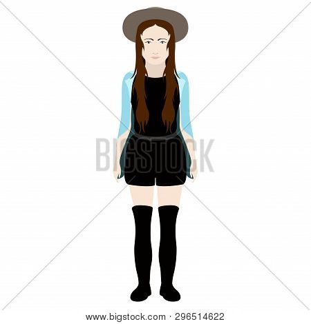 Isolated Hipster Girl With A Hat. Vector Illustration Design