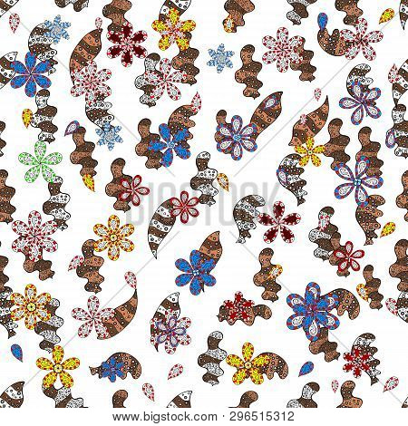Tender Fabric Pattern. Vector. White, Brown And Black On Colors. Doodles Pattern. Seamless Abstract