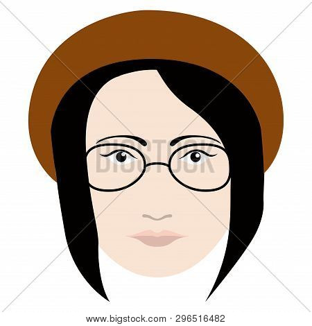 Hipster Girl Avatar With Glasses And A Hat. Vector Illustration Design