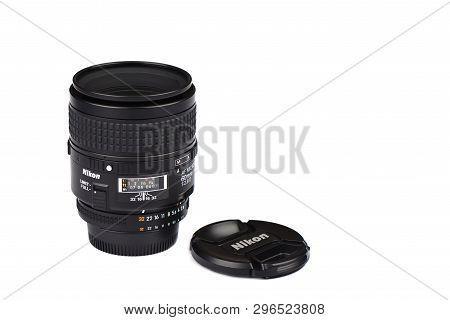 Moscow, Russian Federation - April 20, 2019. Nikon Af Macro-nikkor 60mm F 2.8 D Lens For Nikon Dslr
