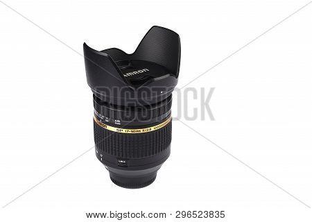 Moscow, Russian Federation - April 20, 2019. Nikon Tamron 17-50 Mm F 2.8 Lens For Nikon Dslr Cameras