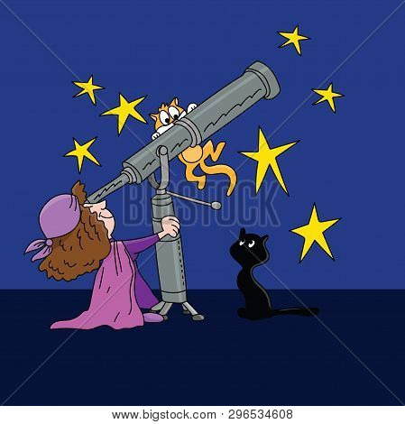 Cartoon Astrologer Looking At The Star Positions In The Sky With A Telescope At Night Time Vector Il