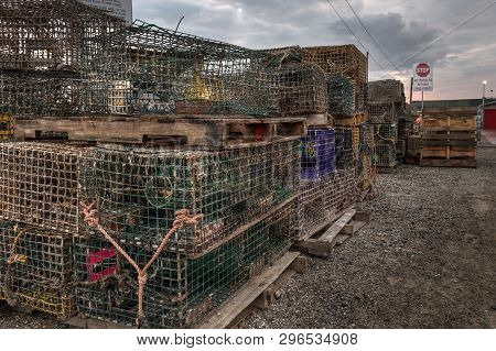 Stacked Lobster Traps - Maine, United States Of America