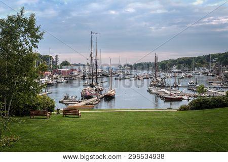 Boats Anchored In Camden Harbor - Camden, Maine, Usa