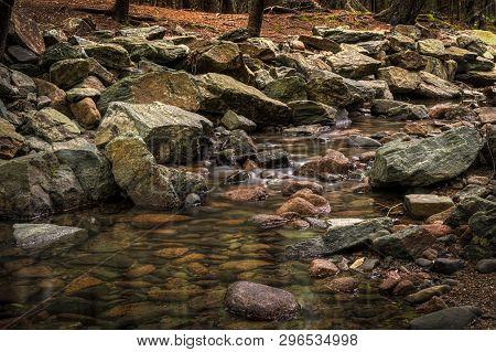 Rocky Forest Stream Cascades Forward - Maine, Usa