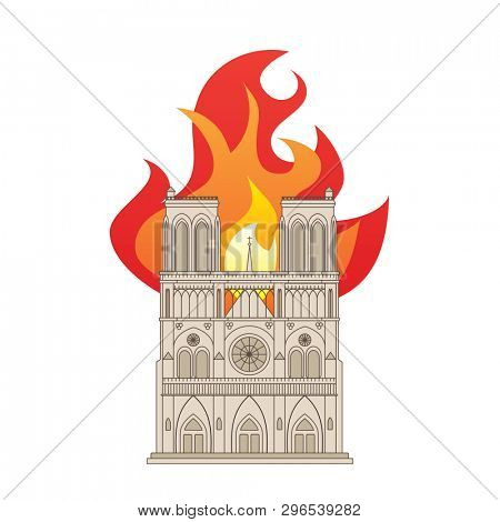 Notre Dame Cathedral in Paris, France. Colour drawing showing the building on fire.