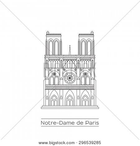 Notre Dame Cathedral in Paris, France. Black and white line drawing.