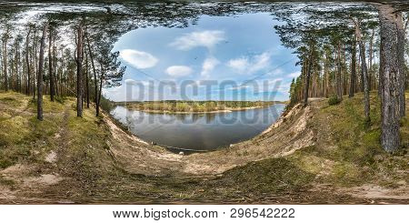Full Seamless Spherical Panorama 360 Degrees Angle View On The Precipice Of A Wide River In Pinery F