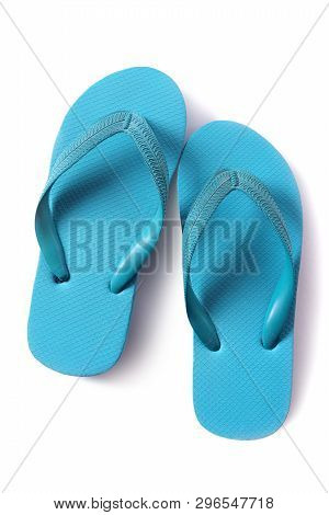 Flipflop Sandals Light Blue Isolated On White Background
