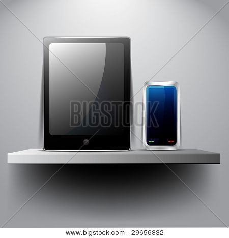 Tablet pc and smart phone on shelf:raster version