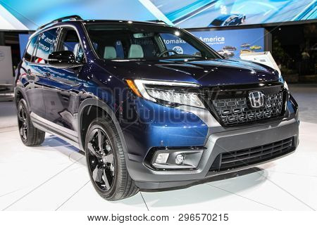 NEW YORK, NY, USA - APRIL 17, 2019: Honda Passport Elite shown at the New York International Auto Show 2019, at the Jacob Javits Center. This was Press Preview Day One of NYIAS