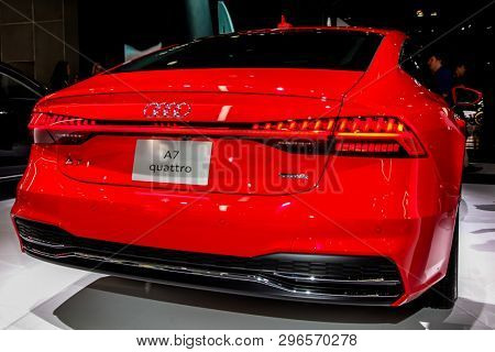 NEW YORK, NY, USA - APRIL 17, 2019: Audi A7 Quattro shown at the New York International Auto Show 2019, at the Jacob Javits Center. This was Press Preview Day One of NYIAS