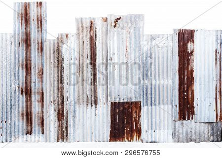Rusty Corrugated Galvanized Steel Wall Or Iron Metal Sheet Surface For Texture And Background.