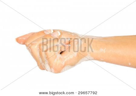 Soap female hands isolated on white background poster
