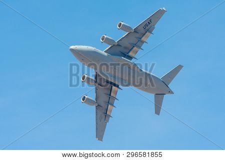 Bengaluru, India - February 22, 2019: Us Air Force Boeing Globemaster C-17 Flying At The Aero India
