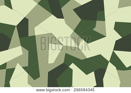 Seamless geometric camouflage pattern. Military texture with debris shape. Dark green, khaki brown. forest, soldier camo background. Vector army fabric textile print. poster