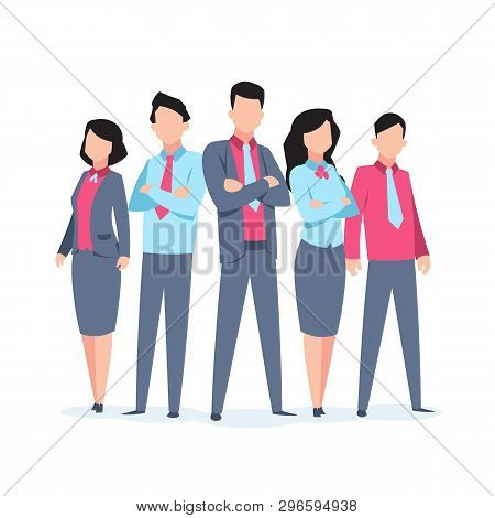 Business Characters Team Work. Office People Corporate Employee Cartoon Teamwork Communication. Flat
