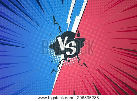 Versus Comics Background. Superhero Pop Art Battle, Cartoon Halftone Style, Retro Vs Challenge Templ