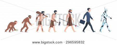 Human Evolution. Monkey, Caveman To Businessman And Cyborg Cartoon Concept, From Ancient Ape To Man