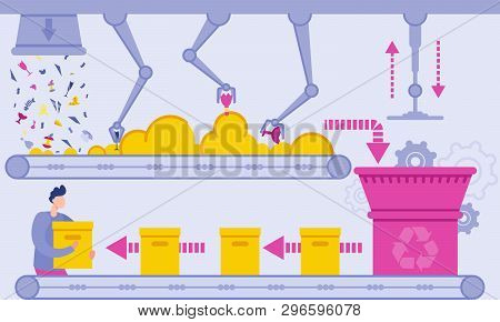 Flat Waste Recycling Plant Vector Illustration. Conveyor Belt Automatically Discharges Waste And Pro